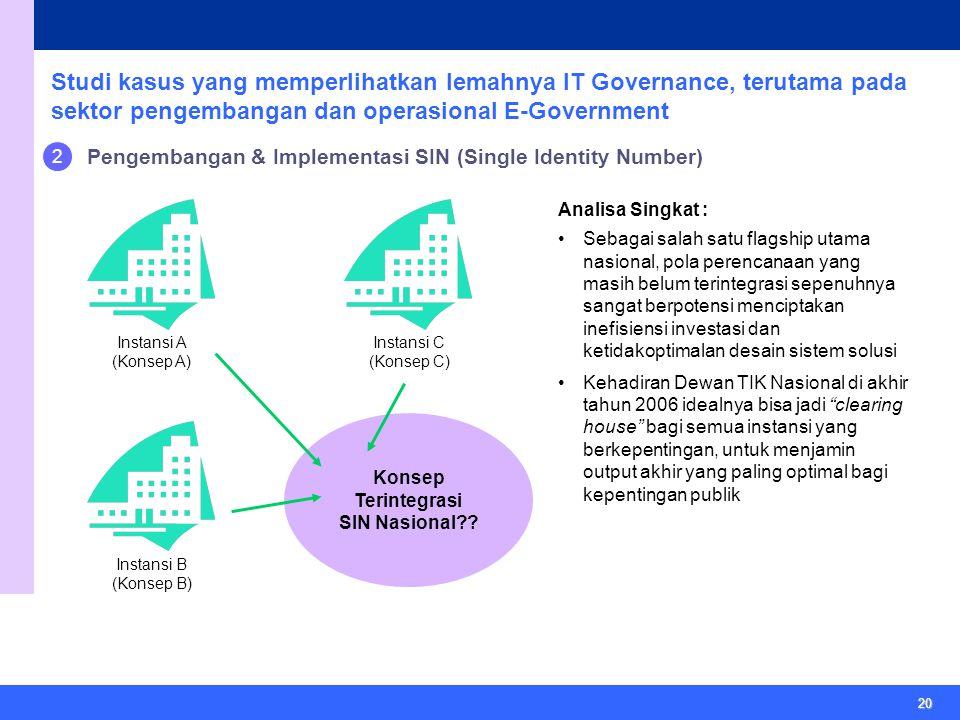 20 Studi kasus yang memperlihatkan lemahnya IT Governance, terutama pada sektor pengembangan dan operasional E-Government 2 Pengembangan & Implementasi SIN (Single Identity Number) Konsep Terintegrasi SIN Nasional .