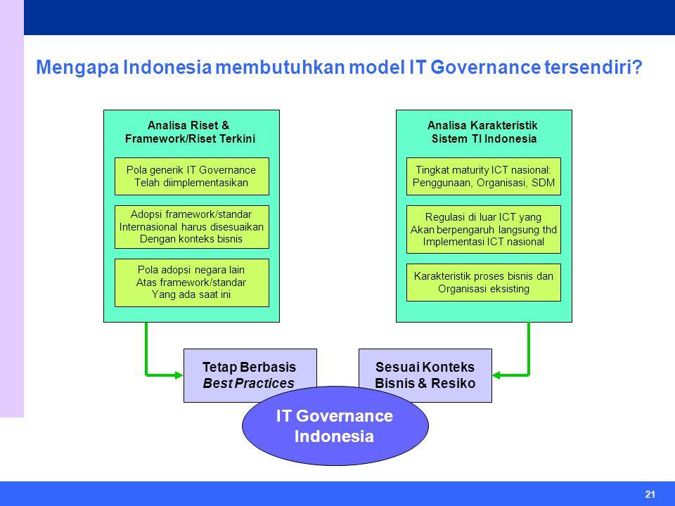 21 Mengapa Indonesia membutuhkan model IT Governance tersendiri.
