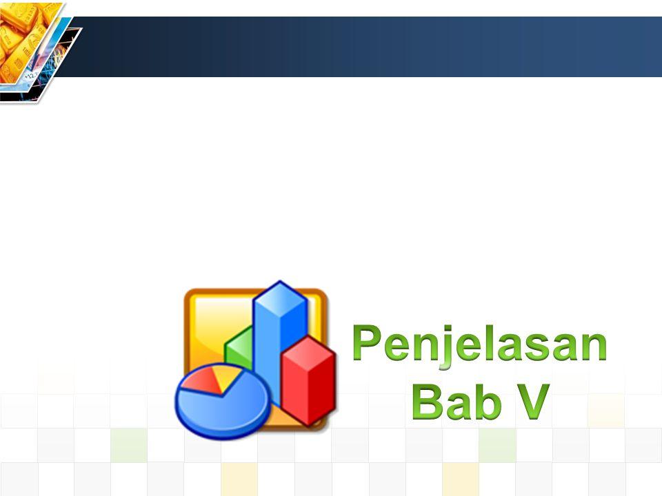 Ketentuan Asistensi dan Pengumpulan Asistensi untuk pengerjaan Bab V dilakukan minimal dua kali Pengumpulan Bab V berupa softcopy dengan format nama: Kelompok_Perusahaan_Bab_Asisten Contoh: A_1_PT.