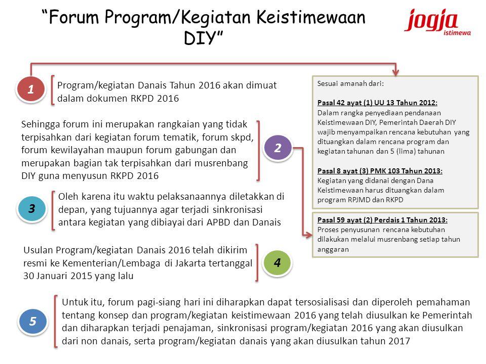 """""""Forum Program/Kegiatan Keistimewaan DIY"""" Program/kegiatan Danais Tahun 2016 akan dimuat dalam dokumen RKPD 2016 Sehingga forum ini merupakan rangkaia"""