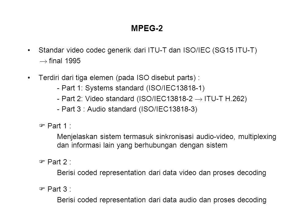 MPEG-2 Standar video codec generik dari ITU-T dan ISO/IEC (SG15 ITU-T)  final 1995 Terdiri dari tiga elemen (pada ISO disebut parts) : - Part 1: Systems standard (ISO/IEC13818-1) - Part 2: Video standard (ISO/IEC13818-2  ITU-T H.262) - Part 3 : Audio standard (ISO/IEC13818-3)  Part 1 : Menjelaskan sistem termasuk sinkronisasi audio-video, multiplexing dan informasi lain yang berhubungan dengan sistem  Part 2 : Berisi coded representation dari data video dan proses decoding  Part 3 : Berisi coded representation dari data audio dan proses decoding
