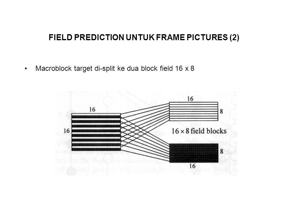 FIELD PREDICTION UNTUK FRAME PICTURES (2) Macroblock target di-split ke dua block field 16 x 8