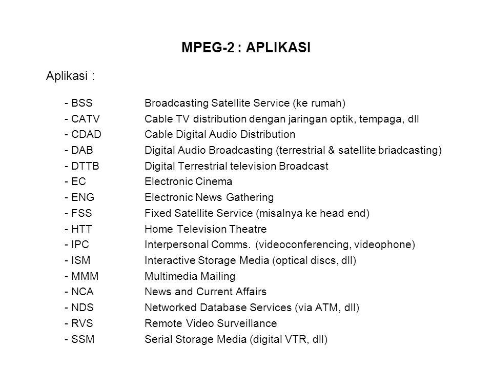 MPEG-2 NON-SCALABLE CODING MODES Perluasan langsung dari MPEG-1 (tambahan fitur mengakomodir interlaced video)  prediksi antar gambar dapat dilaksanakan diantara fields - odd fields : Top fields - even fields : Bottom fields Software-based reference codecs untuk laboratory testing  test model (TM)  versi terakhit TM5