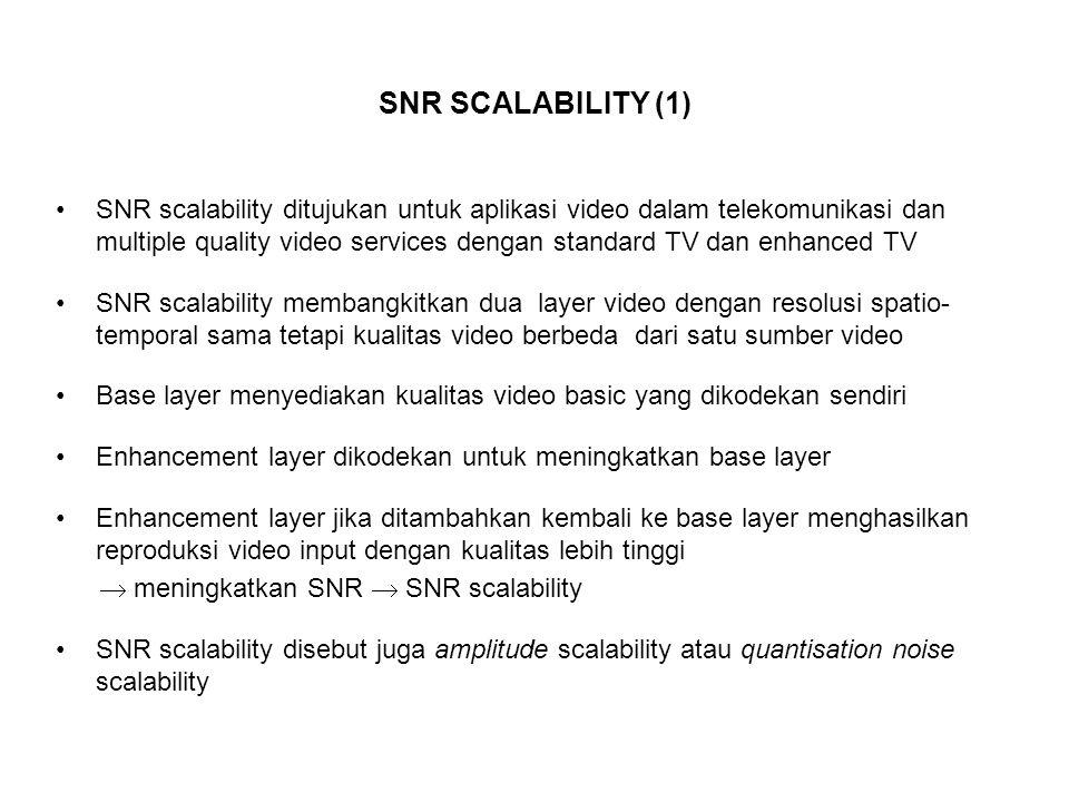 SNR SCALABILITY (1) SNR scalability ditujukan untuk aplikasi video dalam telekomunikasi dan multiple quality video services dengan standard TV dan enhanced TV SNR scalability membangkitkan dua layer video dengan resolusi spatio- temporal sama tetapi kualitas video berbeda dari satu sumber video Base layer menyediakan kualitas video basic yang dikodekan sendiri Enhancement layer dikodekan untuk meningkatkan base layer Enhancement layer jika ditambahkan kembali ke base layer menghasilkan reproduksi video input dengan kualitas lebih tinggi  meningkatkan SNR  SNR scalability SNR scalability disebut juga amplitude scalability atau quantisation noise scalability