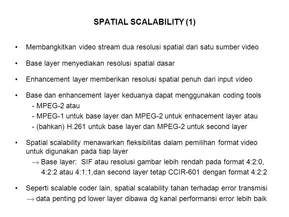 SPATIAL SCALABILITY (1) Membangkitkan video stream dua resolusi spatial dari satu sumber video Base layer menyediakan resolusi spatial dasar Enhancement layer memberikan resolusi spatial penuh dari input video Base dan enhancement layer keduanya dapat menggunakan coding tools - MPEG-2 atau - MPEG-1 untuk base layer dan MPEG-2 untuk enhacement layer atau - (bahkan) H.261 untuk base layer dan MPEG-2 untuk second layer Spatial scalability menawarkan fleksibilitas dalam pemilihan format video untuk digunakan pada tiap layer  Base layer: SIF atau resolusi gambar lebih rendah pada format 4:2:0, 4:2:2 atau 4:1:1,dan second layer tetap CCIR-601 dengan format 4:2:2 Seperti scalable coder lain, spatial scalability tahan terhadap error transmisi  data penting pd lower layer dibawa dg kanal performansi error lebih baik