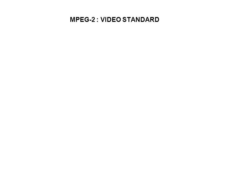 FIELD PREDICTION UNTUK FIELD PICTURES (1) Prediksi mode ini sama dengan prediksi frame, kecuali pixel-pixel dari macroblock traget (MB yang akan dikodekan) dari field yang sama Prediction MB harus datang dari satu field (top atau bottom field) Untuk P-pictures prediction MB datang dari dua field (yang paling baru) Contoh prediksi MB target pada top field pada P-fame T P, dapat datang dari top field T R atau bottom field B R dari frame referensi Prediksi MB target pada bottom field B P diperoleh dari dua field terbaru, top field dari frame yang sama T P atau bottom field dari frame referensi B R Untuk prediksi B-pictures MB diambil dari dua anchor picture terbaru (I/P atau P/P).