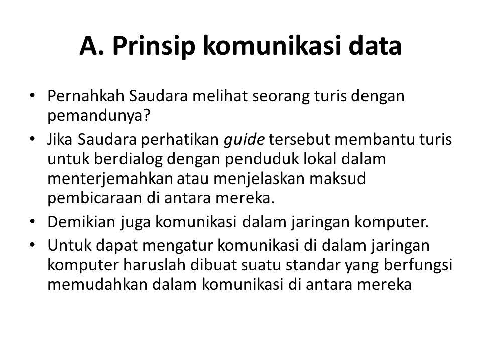 A. Prinsip komunikasi data Pernahkah Saudara melihat seorang turis dengan pemandunya? Jika Saudara perhatikan guide tersebut membantu turis untuk berd