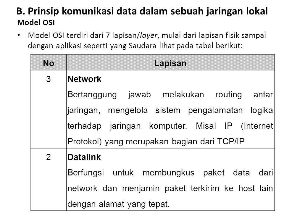 Model OSI Model OSI terdiri dari 7 lapisan/layer, mulai dari lapisan fisik sampai dengan aplikasi seperti yang Saudara lihat pada tabel berikut: No La