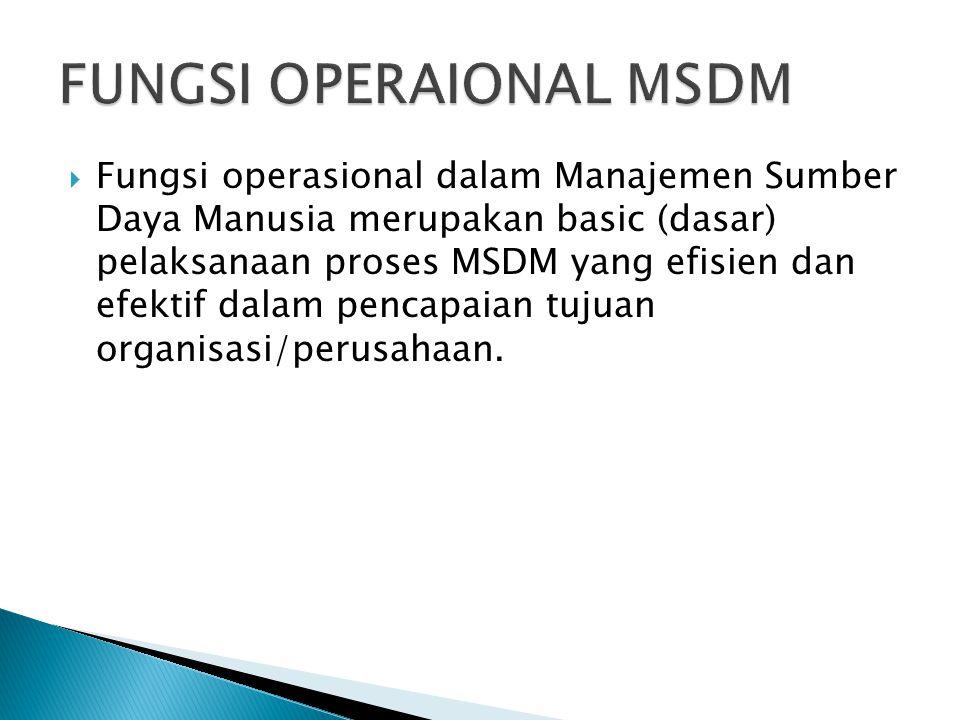  Fungsi operasional dalam Manajemen Sumber Daya Manusia merupakan basic (dasar) pelaksanaan proses MSDM yang efisien dan efektif dalam pencapaian tujuan organisasi/perusahaan.