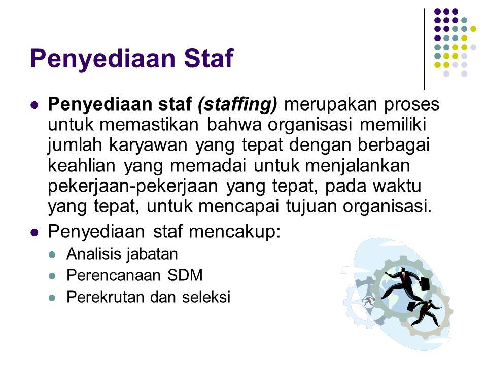 Penyediaan Staf Penyediaan staf (staffing) merupakan proses untuk memastikan bahwa organisasi memiliki jumlah karyawan yang tepat dengan berbagai keah