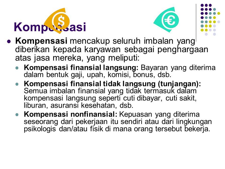 Kompensasi Kompensasi mencakup seluruh imbalan yang diberikan kepada karyawan sebagai penghargaan atas jasa mereka, yang meliputi: Kompensasi finansia