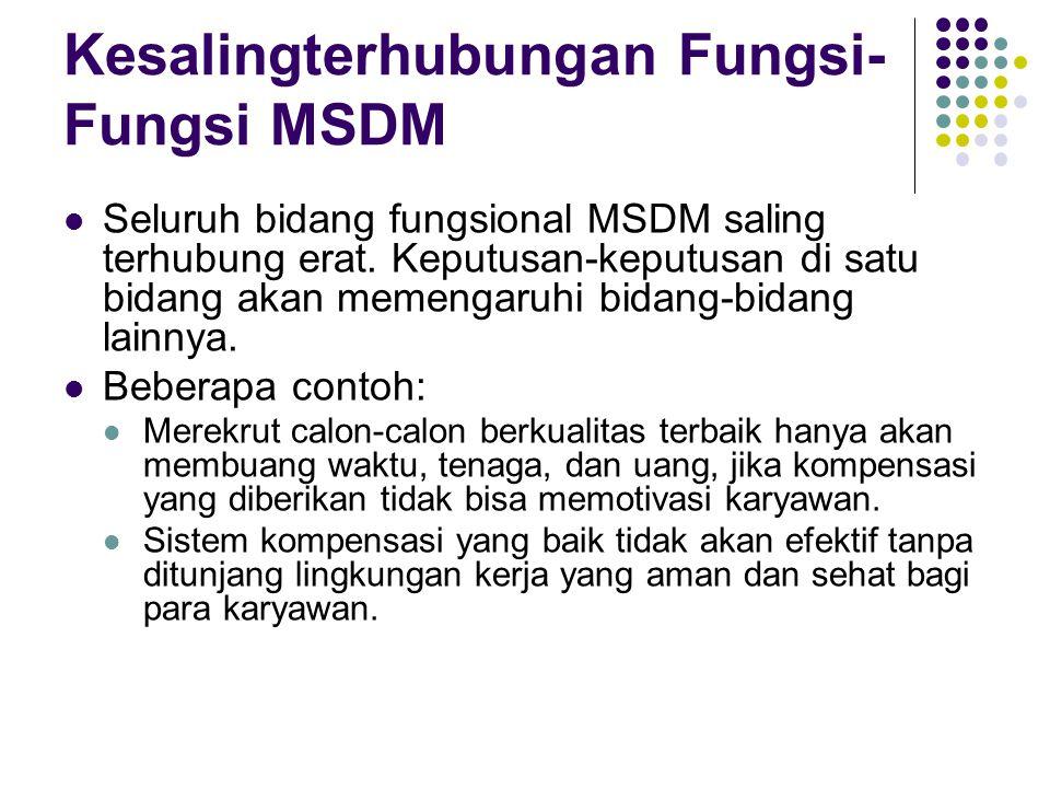 Kesalingterhubungan Fungsi- Fungsi MSDM Seluruh bidang fungsional MSDM saling terhubung erat. Keputusan-keputusan di satu bidang akan memengaruhi bida