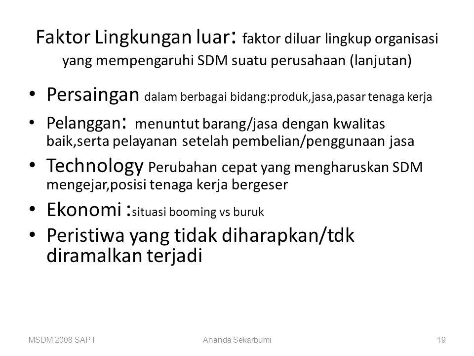 MSDM 2008 SAP IAnanda Sekarbumi19 Faktor Lingkungan luar : faktor diluar lingkup organisasi yang mempengaruhi SDM suatu perusahaan (lanjutan) Persaing