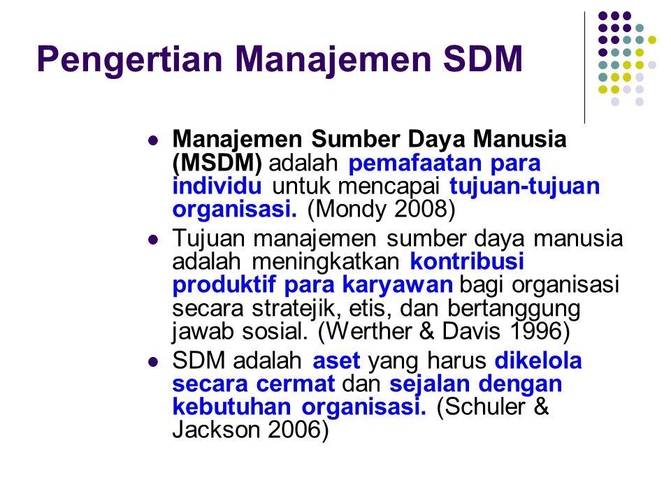 Pengertian Manajemen SDM Manajemen Sumber Daya Manusia (MSDM) adalah pemafaatan para individu untuk mencapai tujuan-tujuan organisasi. (Mondy 2008) Tu