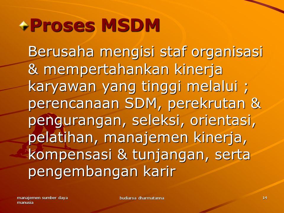 manajemen sumber daya manusia budiarsa dharmatanna 14 Proses MSDM Berusaha mengisi staf organisasi & mempertahankan kinerja karyawan yang tinggi melalui ; perencanaan SDM, perekrutan & pengurangan, seleksi, orientasi, pelatihan, manajemen kinerja, kompensasi & tunjangan, serta pengembangan karir