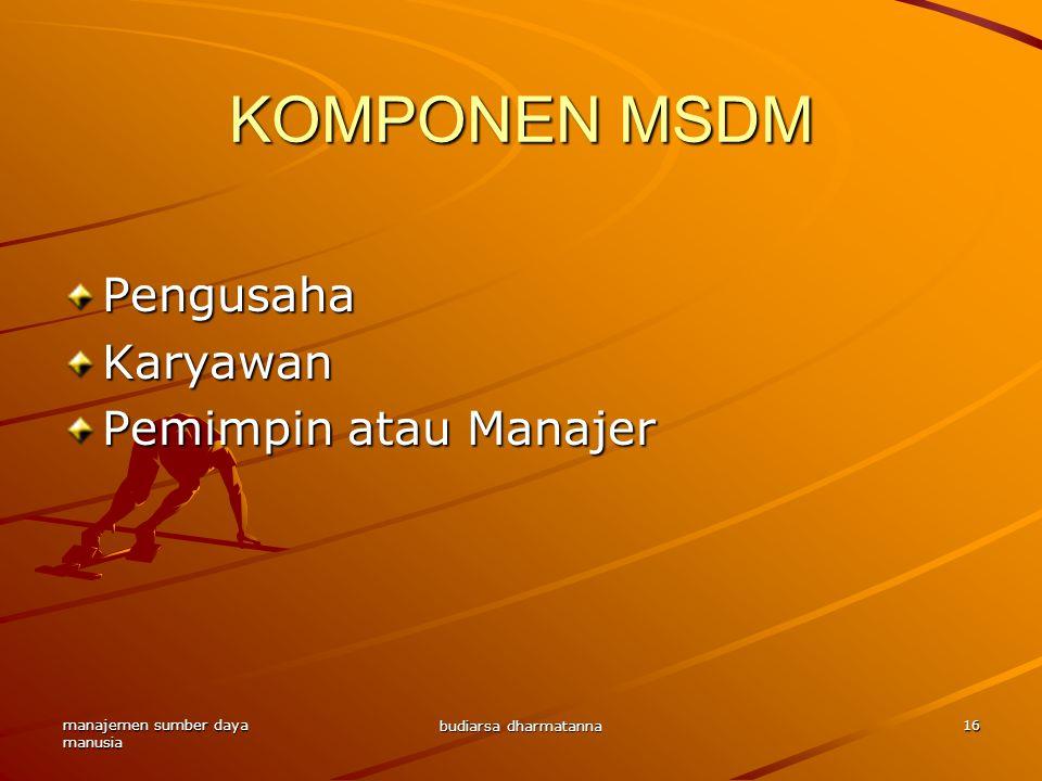 manajemen sumber daya manusia budiarsa dharmatanna 16 KOMPONEN MSDM PengusahaKaryawan Pemimpin atau Manajer