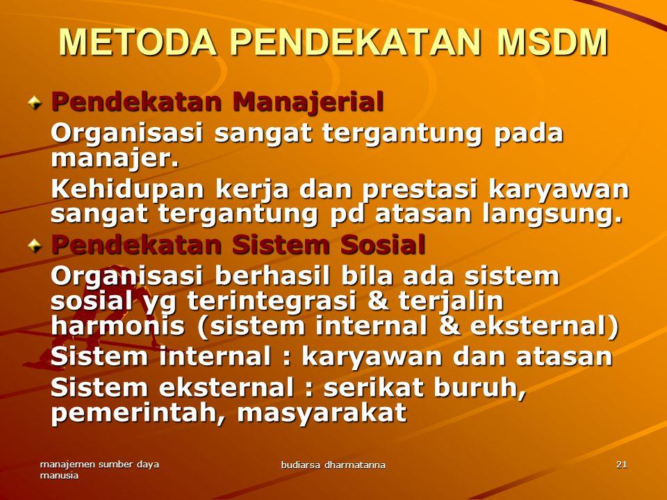manajemen sumber daya manusia budiarsa dharmatanna 21 Pendekatan Manajerial Organisasi sangat tergantung pada manajer.