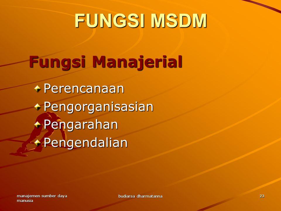 manajemen sumber daya manusia budiarsa dharmatanna 23 FUNGSI MSDM PerencanaanPengorganisasianPengarahanPengendalian Fungsi Manajerial