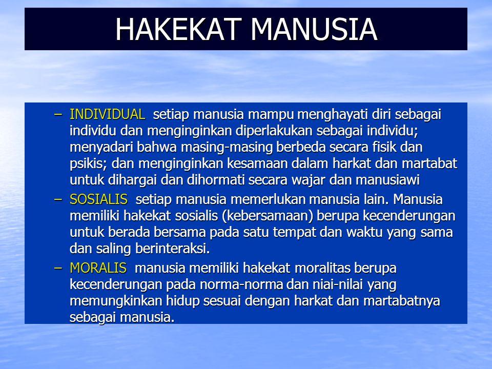 HAKEKAT MANUSIA –INDIVIDUAL setiap manusia mampu menghayati diri sebagai individu dan menginginkan diperlakukan sebagai individu; menyadari bahwa masi