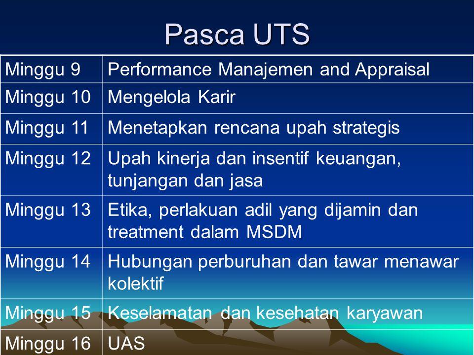 Pasca UTS Minggu 9Performance Manajemen and Appraisal Minggu 10Mengelola Karir Minggu 11Menetapkan rencana upah strategis Minggu 12Upah kinerja dan in