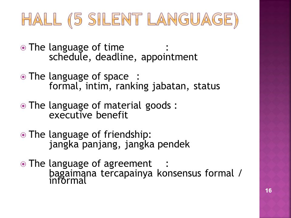 16  The language of time : schedule, deadline, appointment  The language of space: formal, intim, ranking jabatan, status  The language of material