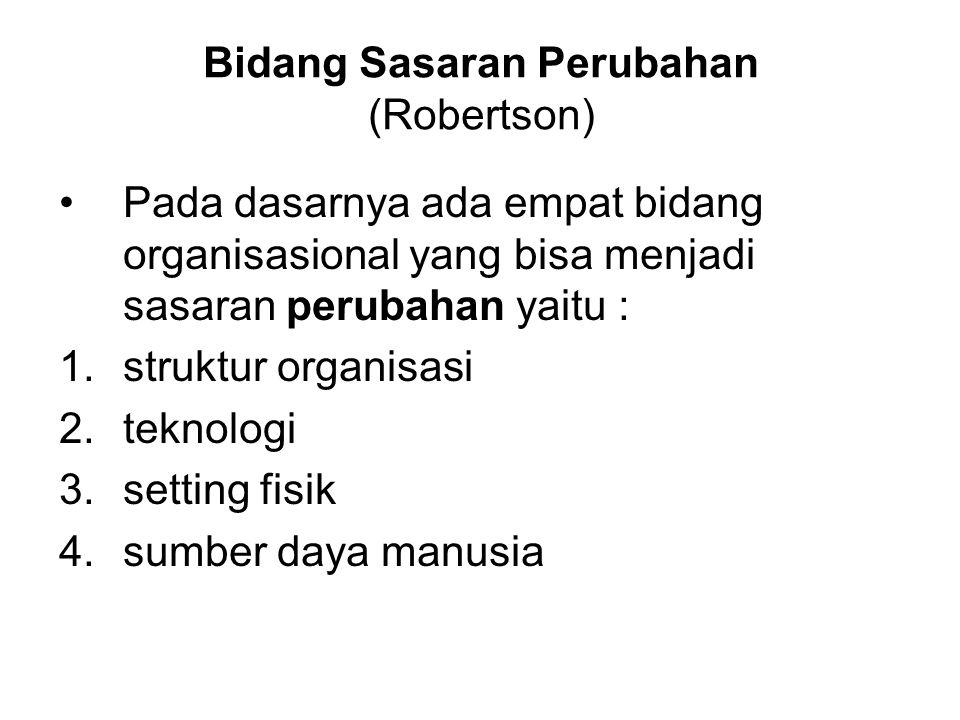 Bidang Sasaran Perubahan (Robertson) Pada dasarnya ada empat bidang organisasional yang bisa menjadi sasaran perubahan yaitu : 1.struktur organisasi 2