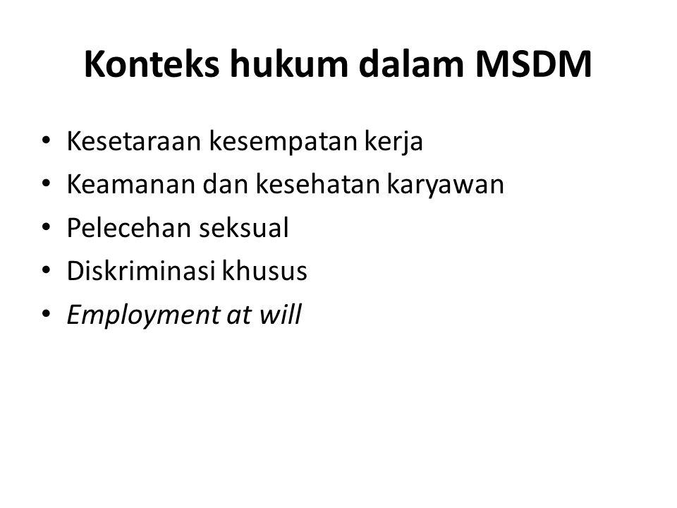 Konteks hukum dalam MSDM Kesetaraan kesempatan kerja Keamanan dan kesehatan karyawan Pelecehan seksual Diskriminasi khusus Employment at will
