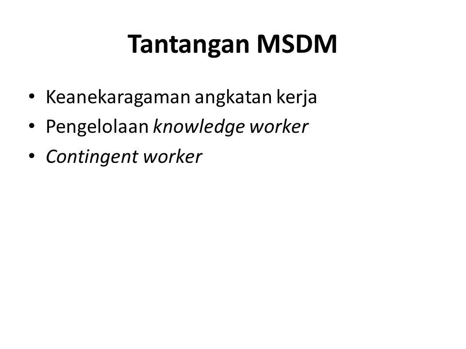 Tantangan MSDM Keanekaragaman angkatan kerja Pengelolaan knowledge worker Contingent worker