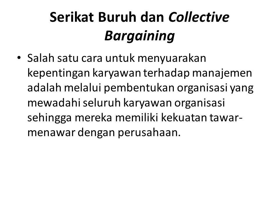 Serikat Buruh dan Collective Bargaining Salah satu cara untuk menyuarakan kepentingan karyawan terhadap manajemen adalah melalui pembentukan organisas