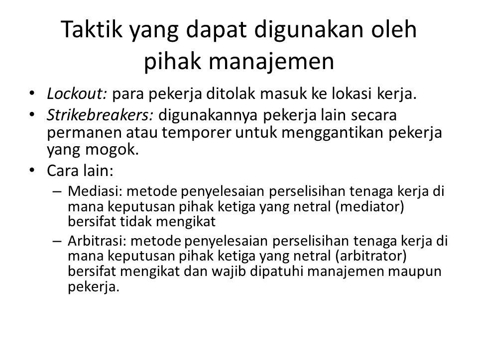 Taktik yang dapat digunakan oleh pihak manajemen Lockout: para pekerja ditolak masuk ke lokasi kerja. Strikebreakers: digunakannya pekerja lain secara