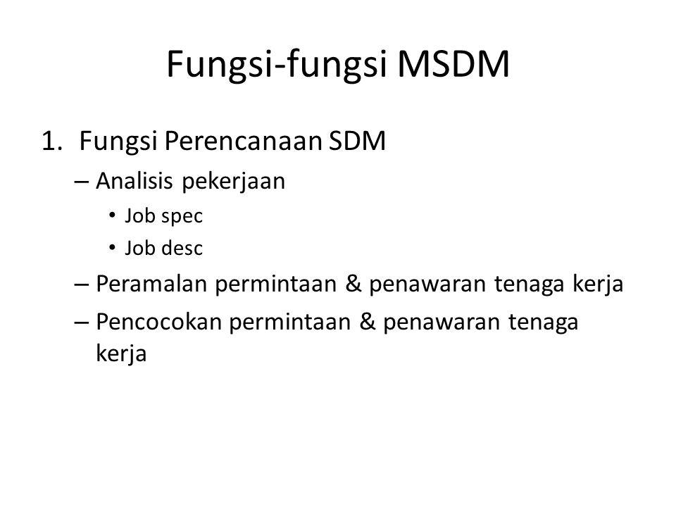 Fungsi-fungsi MSDM 1.Fungsi Perencanaan SDM – Analisis pekerjaan Job spec Job desc – Peramalan permintaan & penawaran tenaga kerja – Pencocokan permin