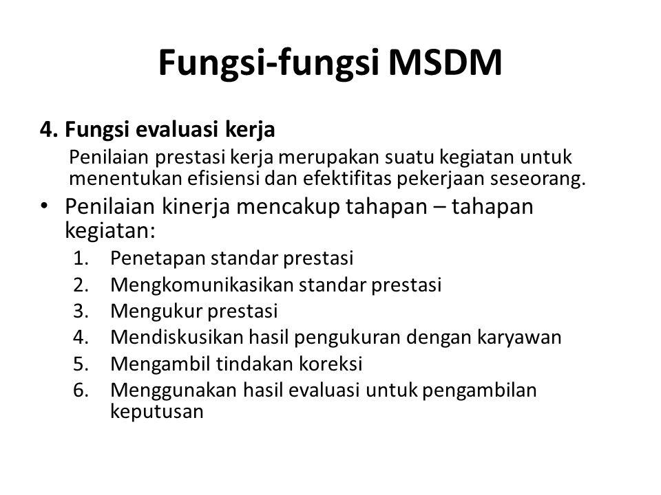 Fungsi-fungsi MSDM 4. Fungsi evaluasi kerja Penilaian prestasi kerja merupakan suatu kegiatan untuk menentukan efisiensi dan efektifitas pekerjaan ses