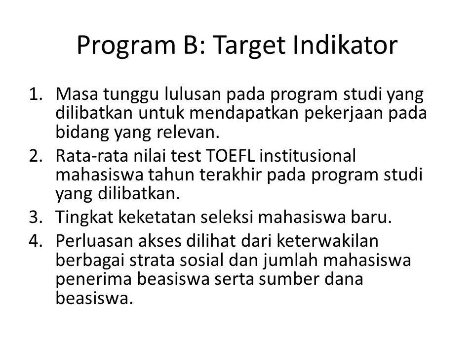 Program B: Target Indikator 1.Masa tunggu lulusan pada program studi yang dilibatkan untuk mendapatkan pekerjaan pada bidang yang relevan. 2.Rata-rata