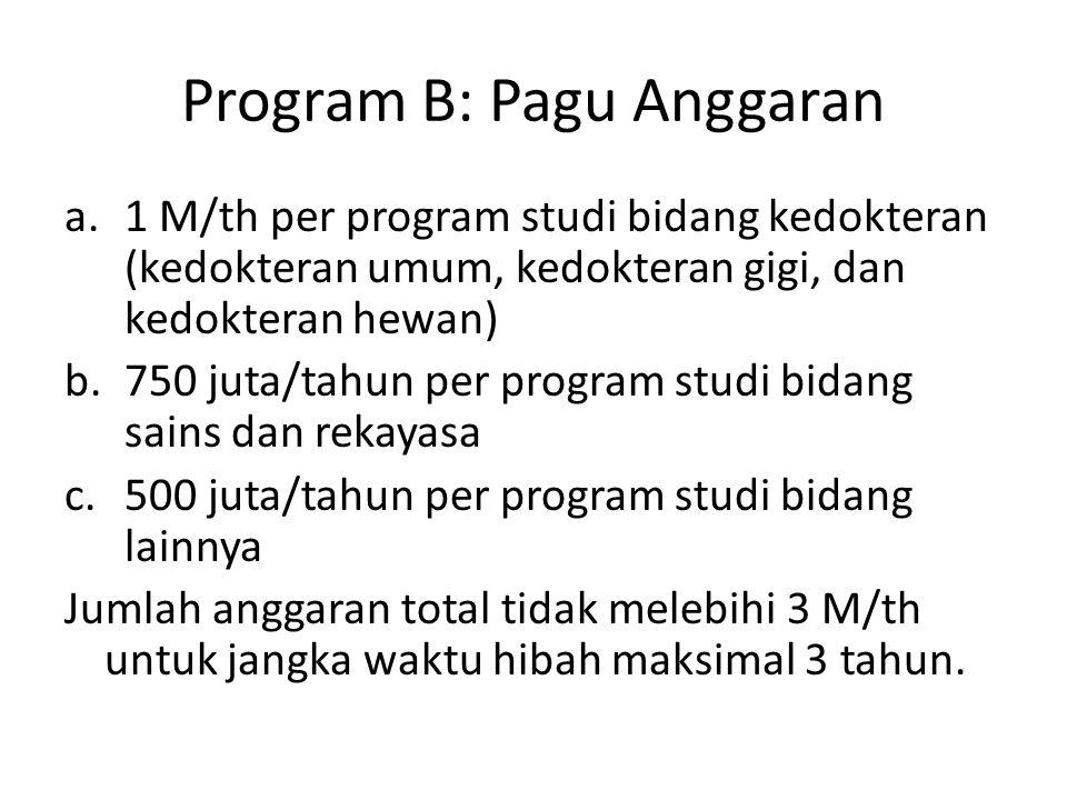 Program B: Pagu Anggaran a.1 M/th per program studi bidang kedokteran (kedokteran umum, kedokteran gigi, dan kedokteran hewan) b.750 juta/tahun per program studi bidang sains dan rekayasa c.500 juta/tahun per program studi bidang lainnya Jumlah anggaran total tidak melebihi 3 M/th untuk jangka waktu hibah maksimal 3 tahun.