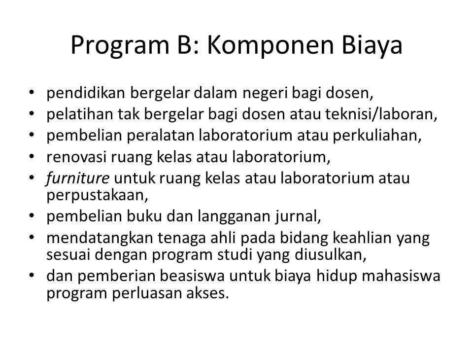 Program B: Komponen Biaya pendidikan bergelar dalam negeri bagi dosen, pelatihan tak bergelar bagi dosen atau teknisi/laboran, pembelian peralatan lab