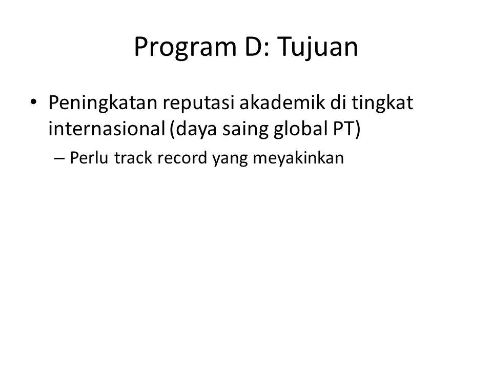 Program D: Tujuan Peningkatan reputasi akademik di tingkat internasional (daya saing global PT) – Perlu track record yang meyakinkan