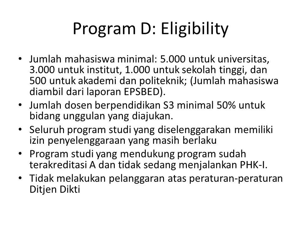 Program D: Eligibility Jumlah mahasiswa minimal: 5.000 untuk universitas, 3.000 untuk institut, 1.000 untuk sekolah tinggi, dan 500 untuk akademi dan