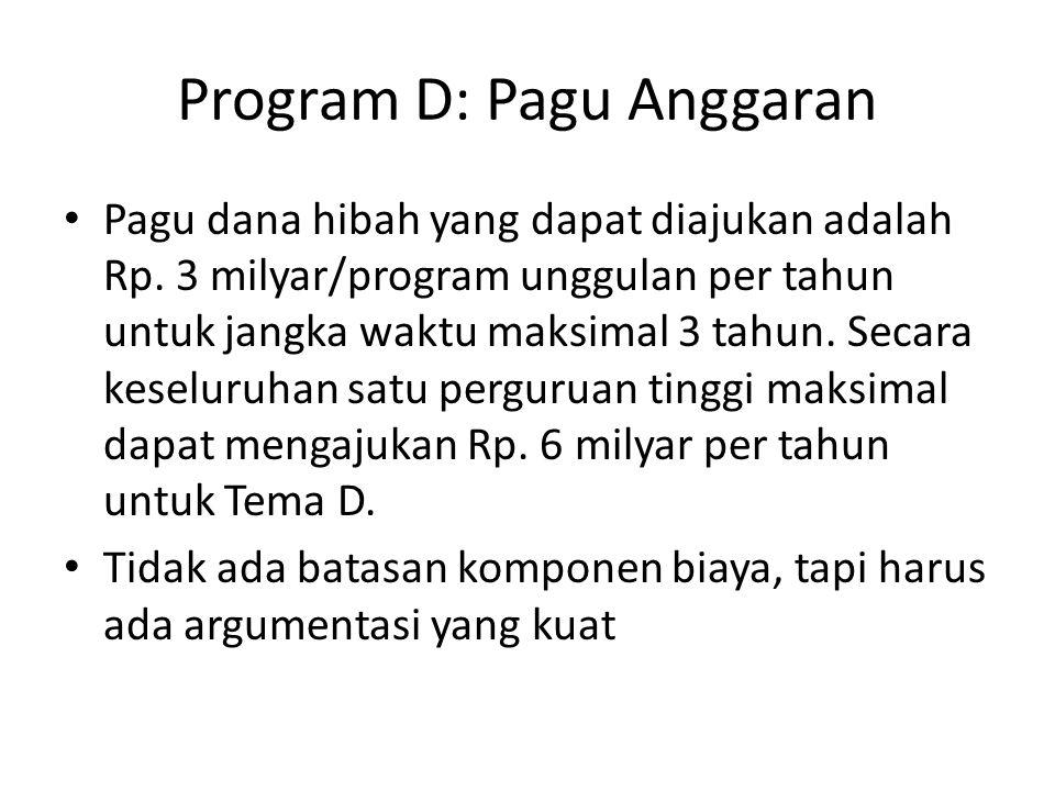 Program D: Pagu Anggaran Pagu dana hibah yang dapat diajukan adalah Rp. 3 milyar/program unggulan per tahun untuk jangka waktu maksimal 3 tahun. Secar