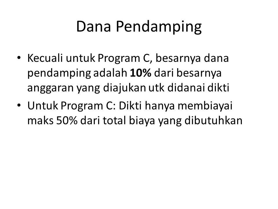 Dana Pendamping Kecuali untuk Program C, besarnya dana pendamping adalah 10% dari besarnya anggaran yang diajukan utk didanai dikti Untuk Program C: D