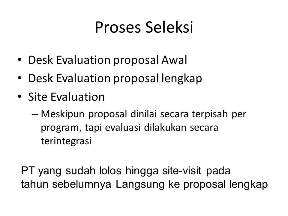 Proses Seleksi Desk Evaluation proposal Awal Desk Evaluation proposal lengkap Site Evaluation – Meskipun proposal dinilai secara terpisah per program, tapi evaluasi dilakukan secara terintegrasi PT yang sudah lolos hingga site-visit pada tahun sebelumnya Langsung ke proposal lengkap