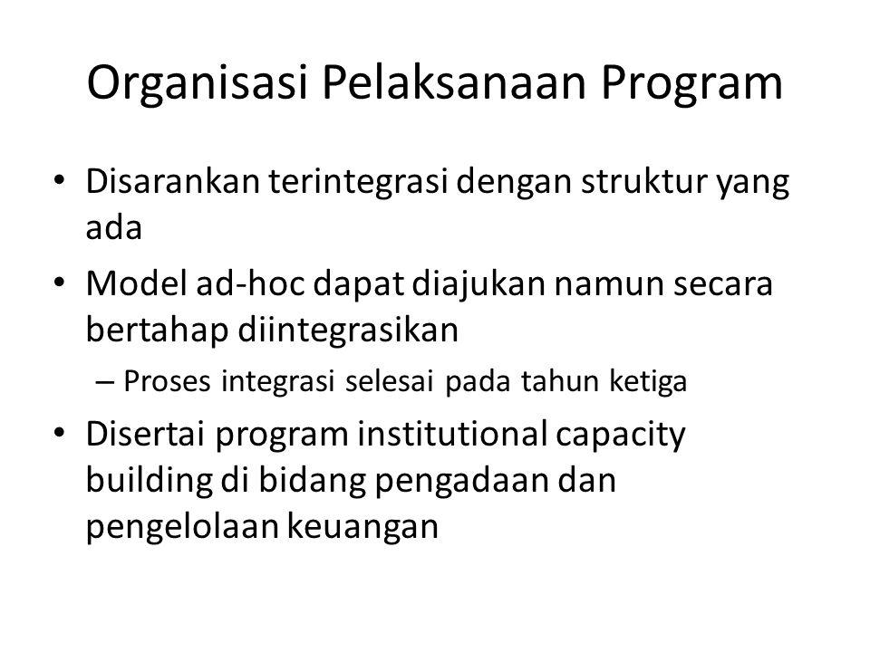 Organisasi Pelaksanaan Program Disarankan terintegrasi dengan struktur yang ada Model ad-hoc dapat diajukan namun secara bertahap diintegrasikan – Proses integrasi selesai pada tahun ketiga Disertai program institutional capacity building di bidang pengadaan dan pengelolaan keuangan