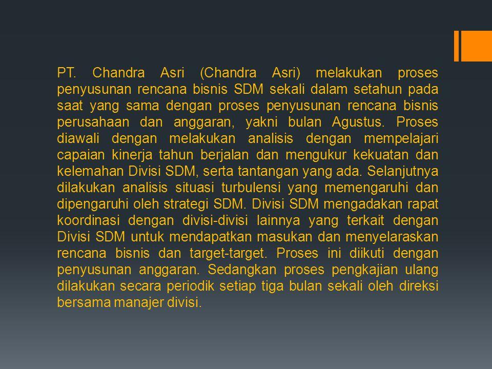 PT. Chandra Asri (Chandra Asri) melakukan proses penyusunan rencana bisnis SDM sekali dalam setahun pada saat yang sama dengan proses penyusunan renca