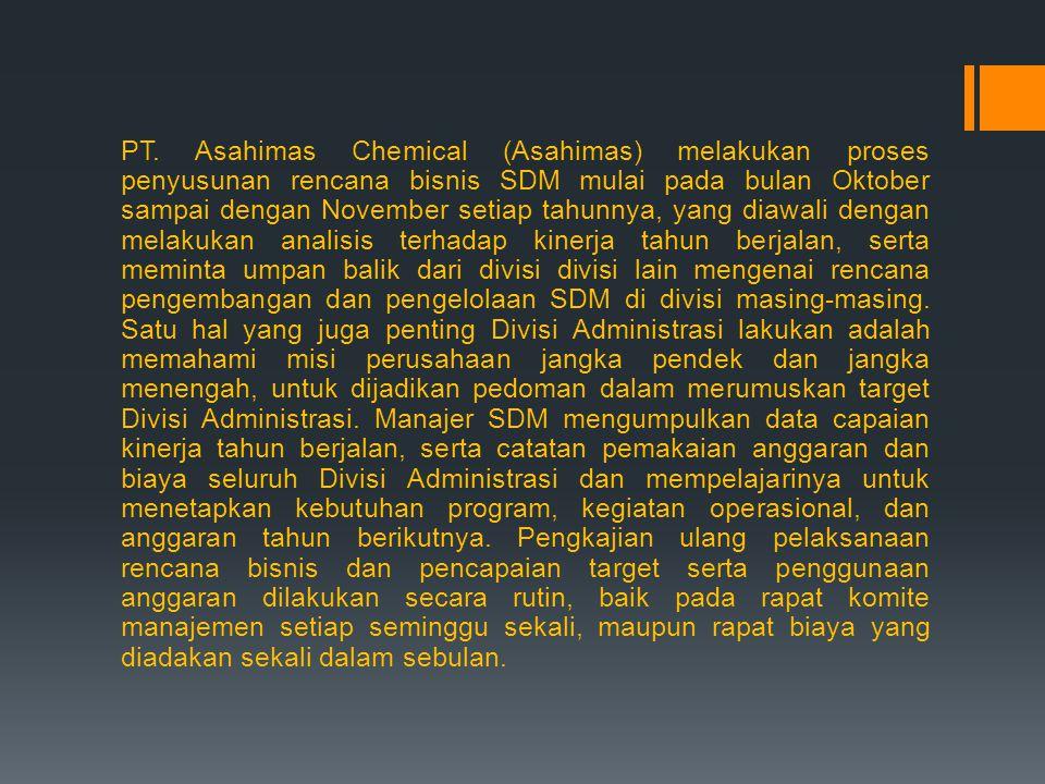 PT. Asahimas Chemical (Asahimas) melakukan proses penyusunan rencana bisnis SDM mulai pada bulan Oktober sampai dengan November setiap tahunnya, yang