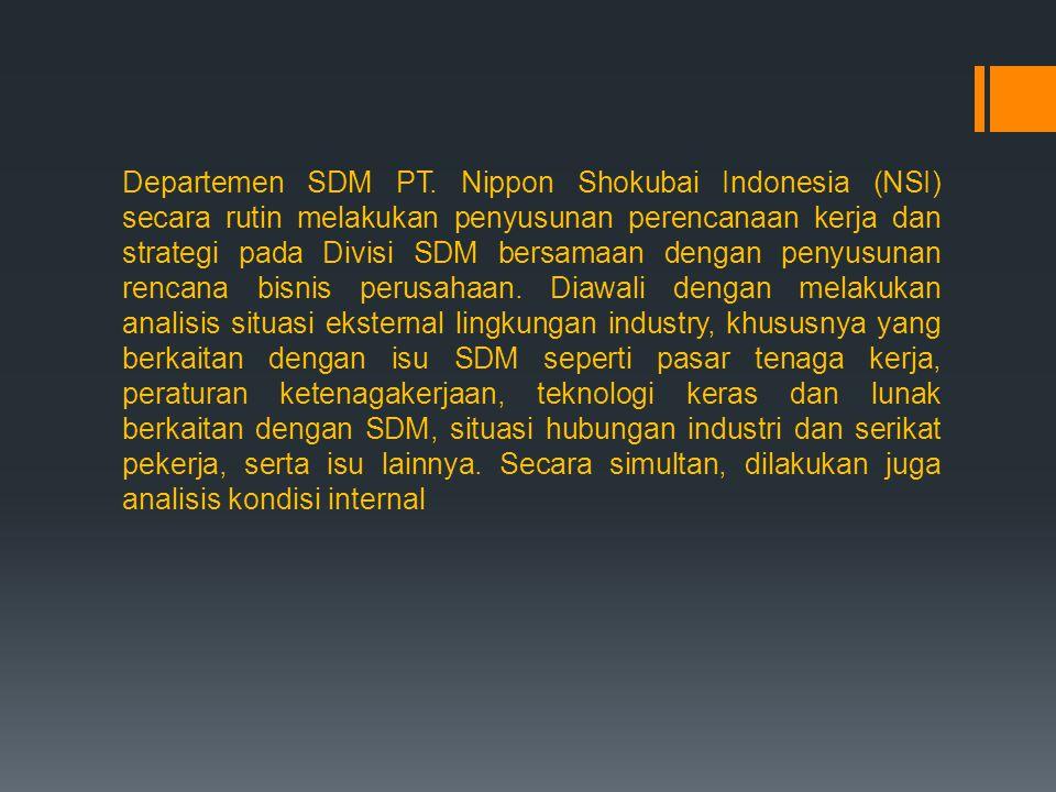 Departemen SDM PT. Nippon Shokubai Indonesia (NSI) secara rutin melakukan penyusunan perencanaan kerja dan strategi pada Divisi SDM bersamaan dengan p