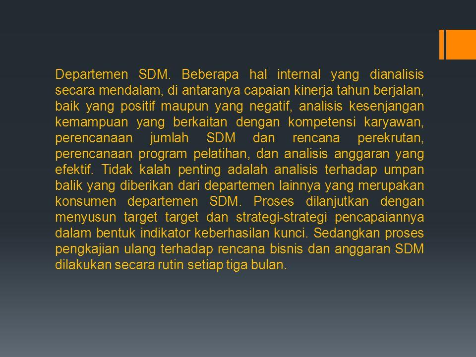 Departemen SDM. Beberapa hal internal yang dianalisis secara mendalam, di antaranya capaian kinerja tahun berjalan, baik yang positif maupun yang nega