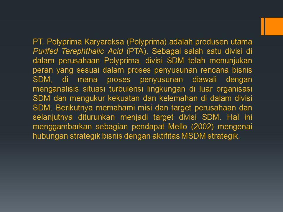 PT. Polyprima Karyareksa (Polyprima) adalah produsen utama Purifed Terephthalic Acid (PTA). Sebagai salah satu divisi di dalam perusahaan Polyprima, d