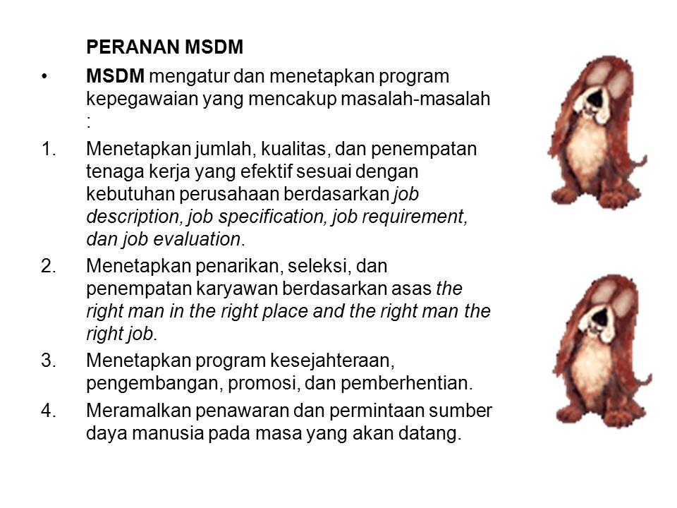 PERANAN MSDM MSDM mengatur dan menetapkan program kepegawaian yang mencakup masalah-masalah : 1.Menetapkan jumlah, kualitas, dan penempatan tenaga ker