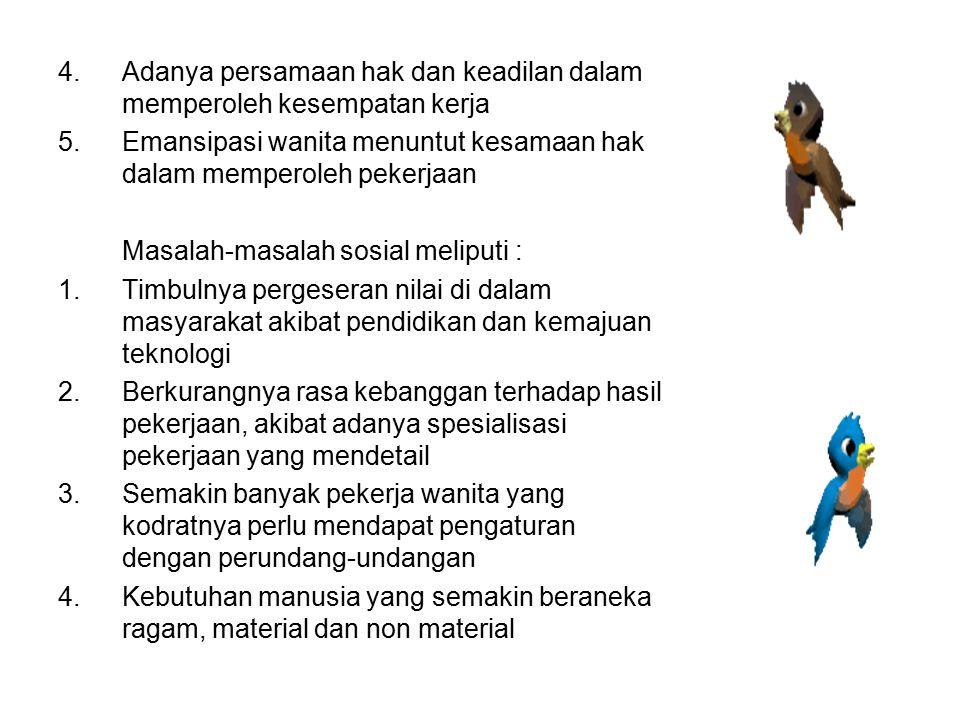 4.Adanya persamaan hak dan keadilan dalam memperoleh kesempatan kerja 5.Emansipasi wanita menuntut kesamaan hak dalam memperoleh pekerjaan Masalah-mas