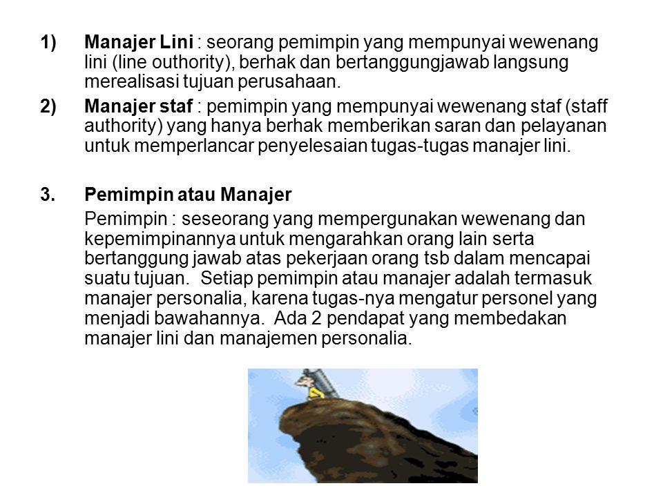 1)Manajer Lini : seorang pemimpin yang mempunyai wewenang lini (line outhority), berhak dan bertanggungjawab langsung merealisasi tujuan perusahaan. 2