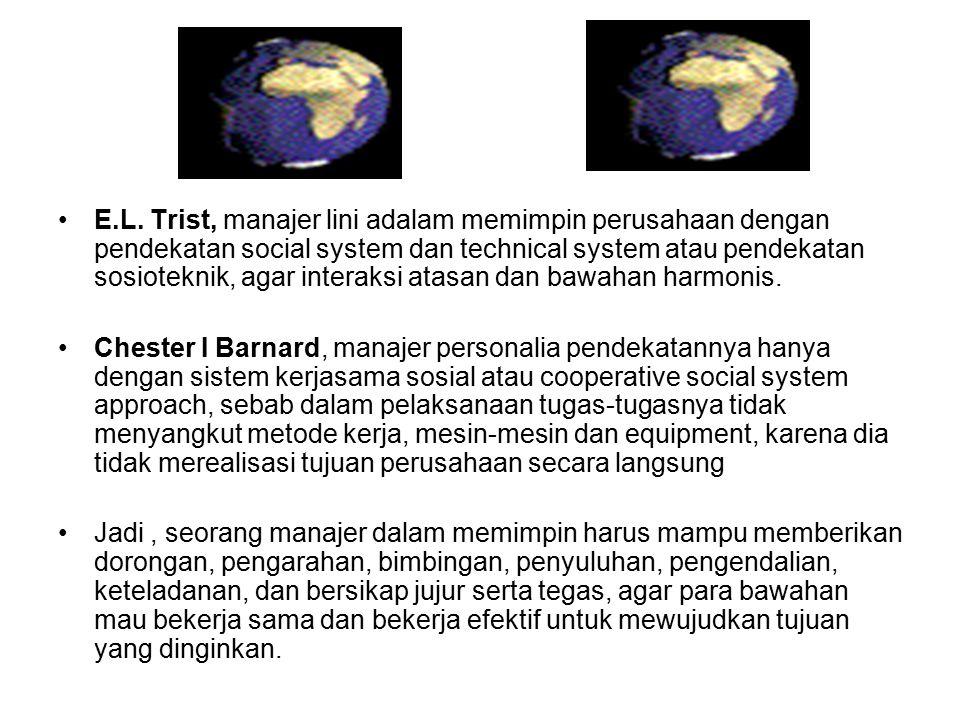E.L. Trist, manajer lini adalam memimpin perusahaan dengan pendekatan social system dan technical system atau pendekatan sosioteknik, agar interaksi a